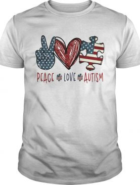 Peace love autism American flag heart shirt