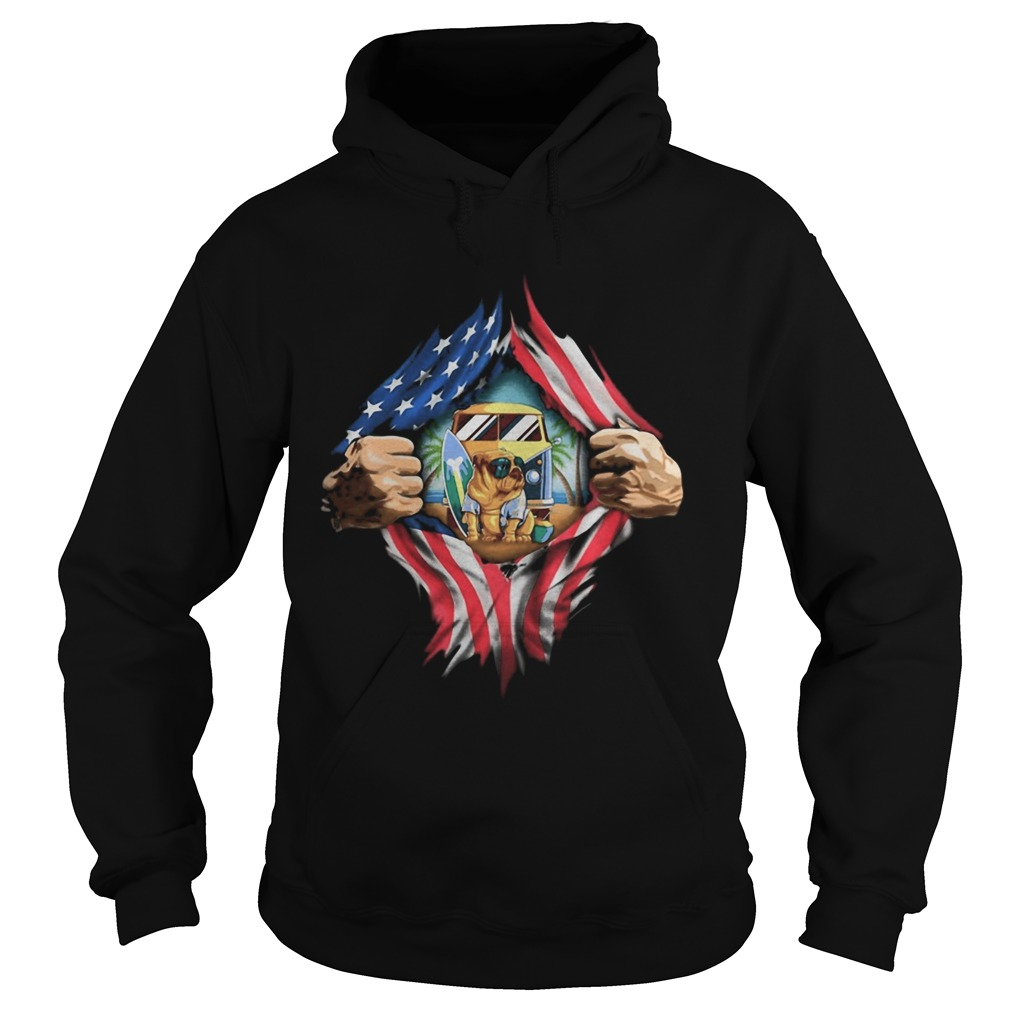 Blood insides camping pug american flag independence day Hoodie