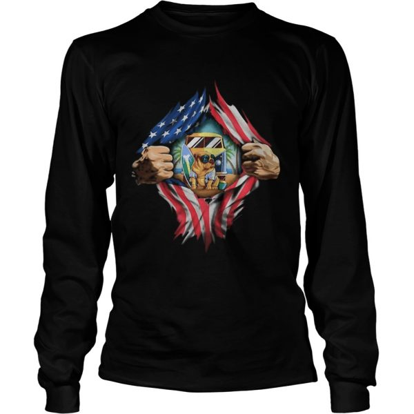 Blood insides camping pug american flag independence day  Long Sleeve