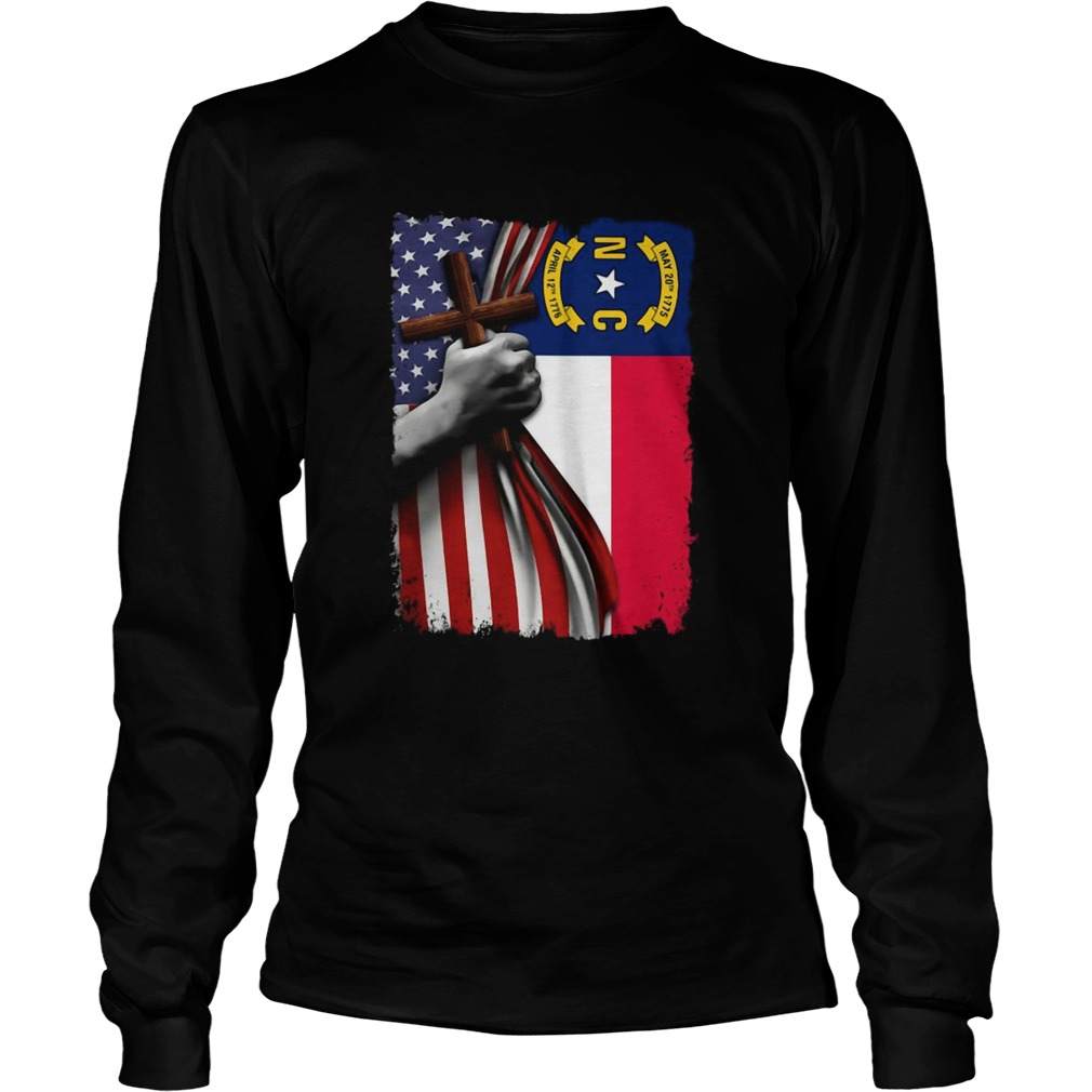 North carolina american flag cross happy independence day Long Sleeve
