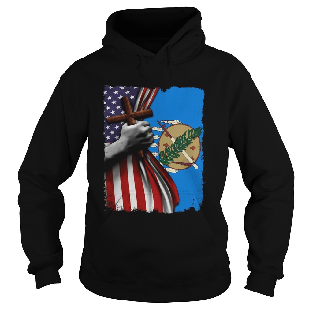 Oklahoma american flag cross happy independence day Hoodie