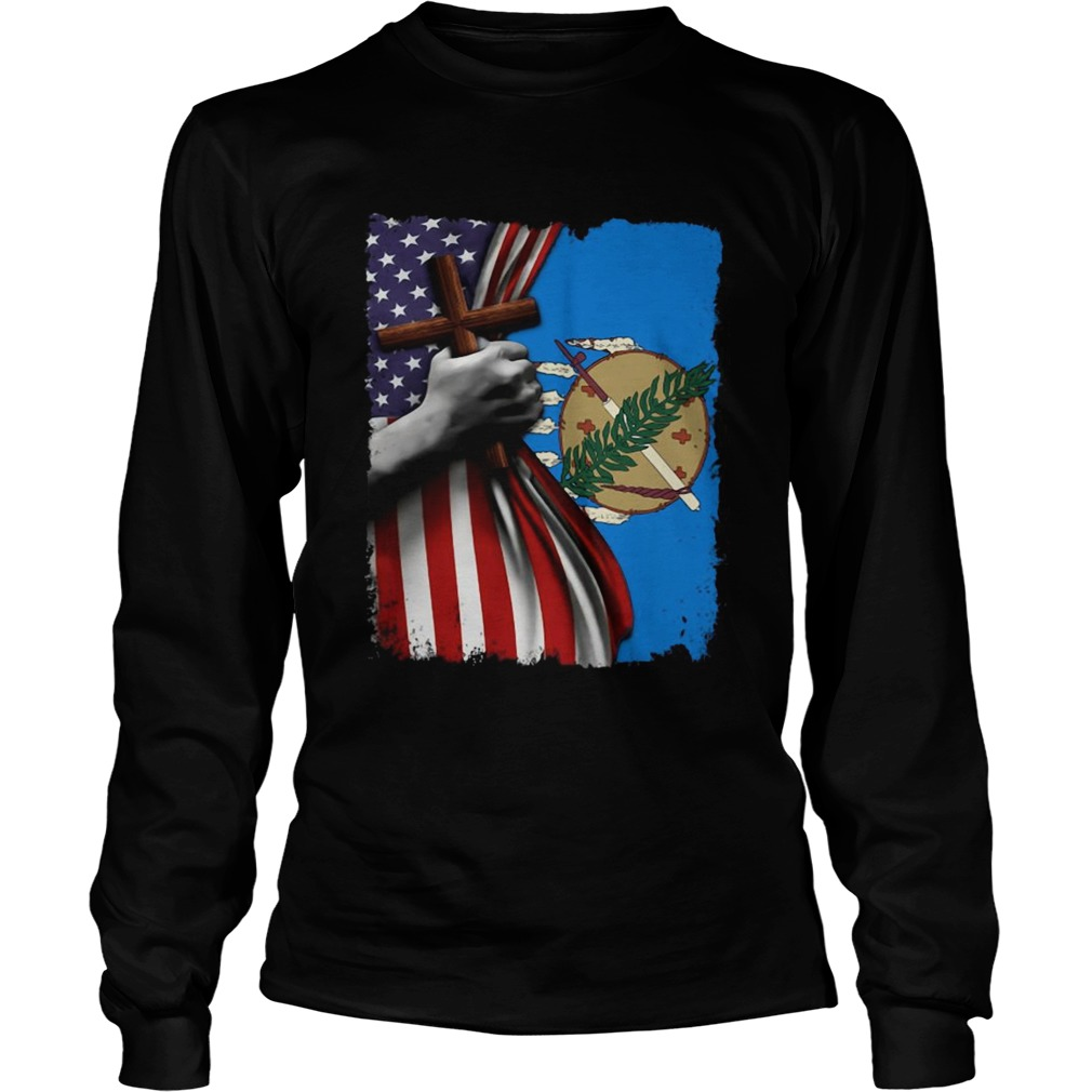 Oklahoma american flag cross happy independence day Long Sleeve