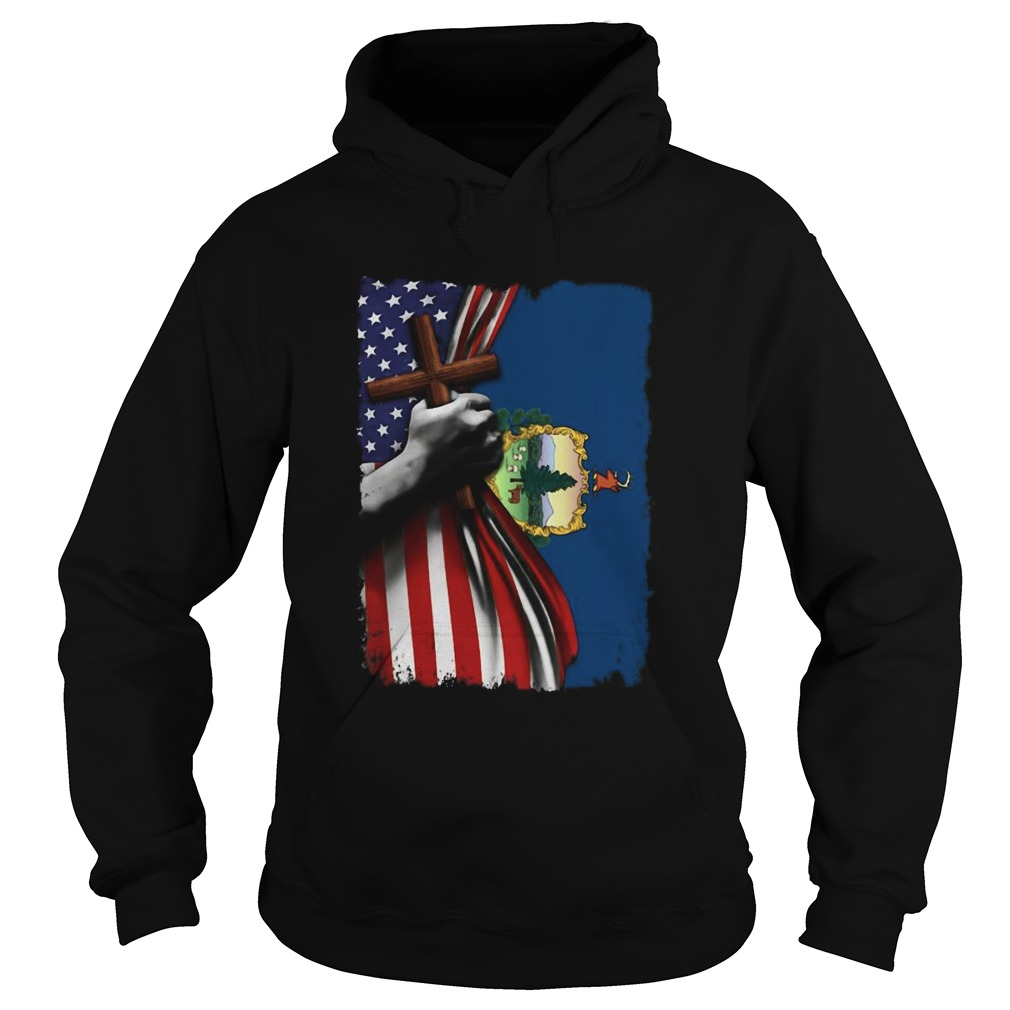 Vermont american flag cross happy independence day Hoodie