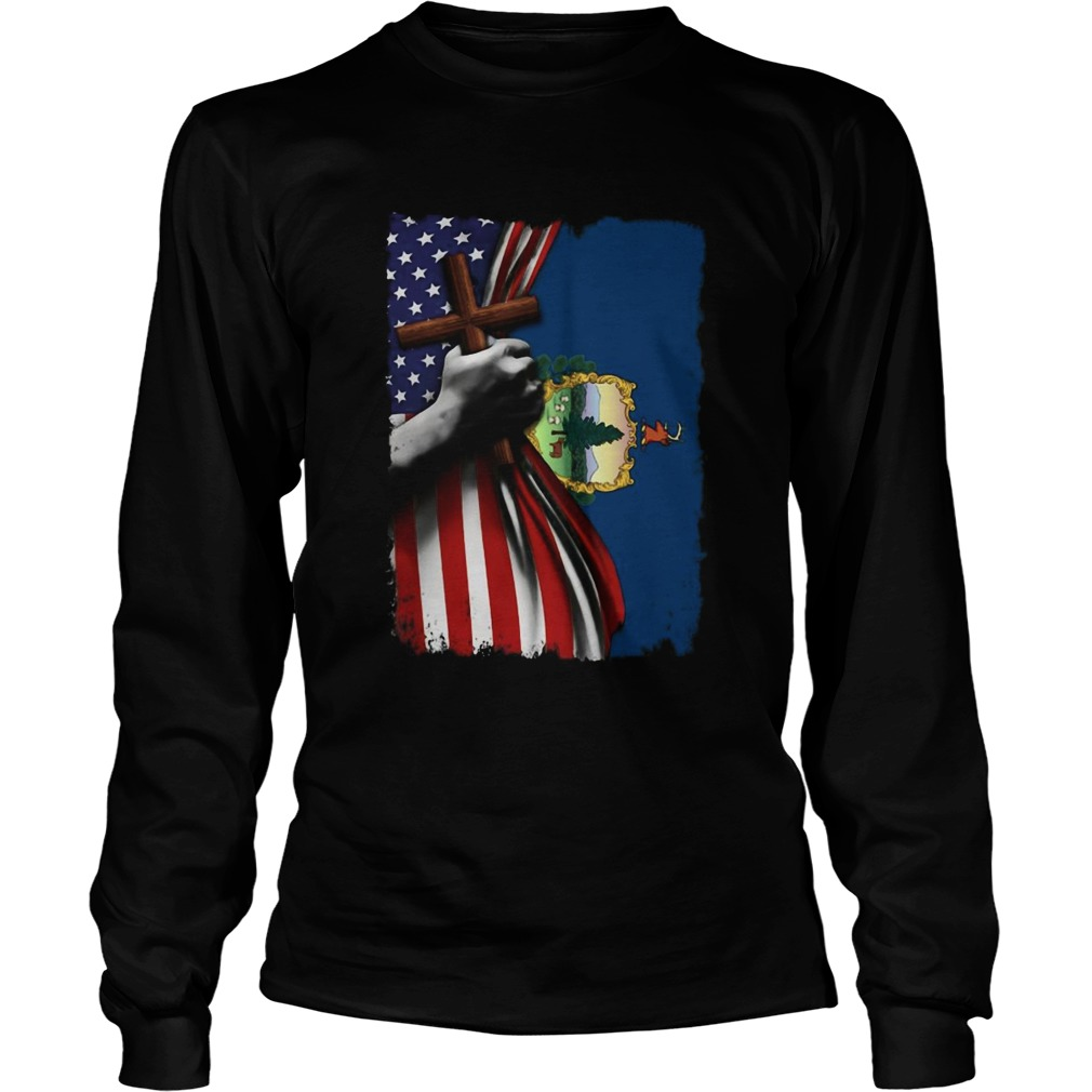 Vermont american flag cross happy independence day Long Sleeve