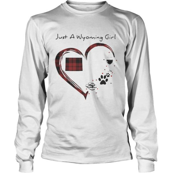 Just A Wyoming Girl Love Flip Flop Dog Wine Wyoming Map  Long Sleeve