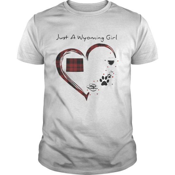 Just A Wyoming Girl Love Flip Flop Dog Wine Wyoming Map  Unisex