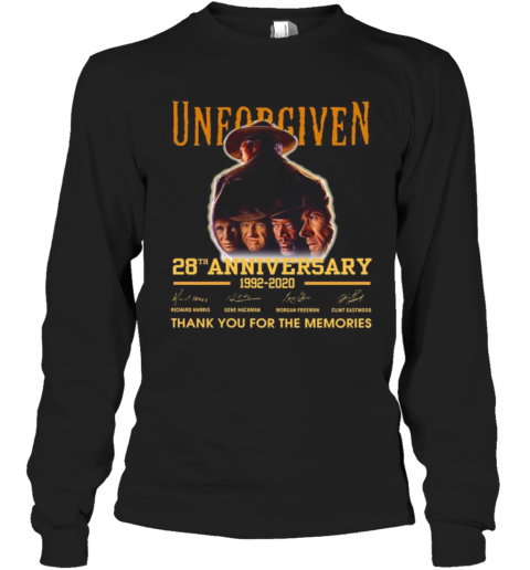 Unforgiven 28Th Anniversary 1992 2020 Thank You For The Memories Signatures T-Shirt Long Sleeved T-shirt
