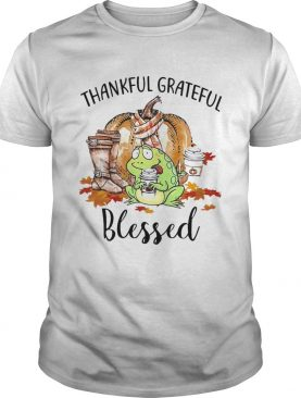 Frog Thankful Grateful Blessed Autumn Fall shirt