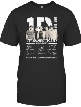 One Direction 10Th Anniversary 2010 2020 Thank For The Memories Signatures T-Shirt