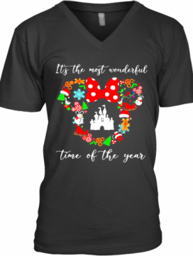 Merry Christmas Minnie Mouse It'S The Most Wonderful Time Of The Year V-Neck T-Shirt