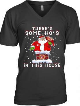 Kansas City Chiefs Christmas There Is Some Hos In This House Santa Stuck In The Chimney NFL Youth V-Neck T-Shirt