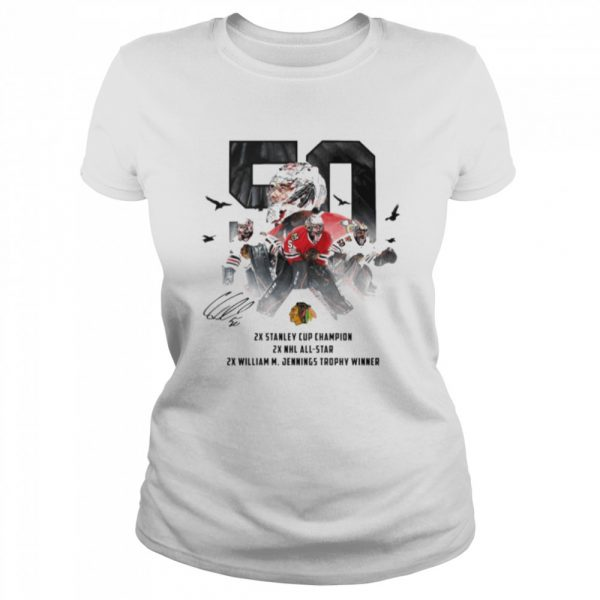 50 Corey Crawford Chicago Blackhawks 2x Stanley Cup Champion 2x NHL all-star 2x William M Jennings trophy winner  Classic Women's T-shirt