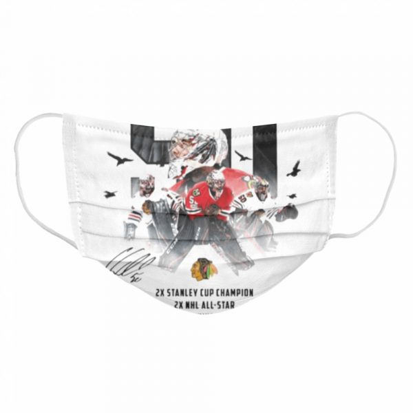50 Corey Crawford Chicago Blackhawks 2x Stanley Cup Champion 2x NHL all-star 2x William M Jennings trophy winner  Cloth Face Mask