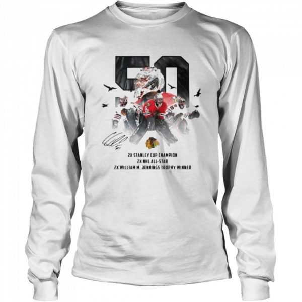 50 Corey Crawford Chicago Blackhawks 2x Stanley Cup Champion 2x NHL all-star 2x William M Jennings trophy winner  Long Sleeved T-shirt
