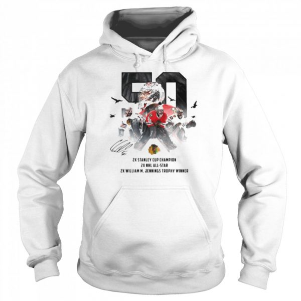 50 Corey Crawford Chicago Blackhawks 2x Stanley Cup Champion 2x NHL all-star 2x William M Jennings trophy winner  Unisex Hoodie
