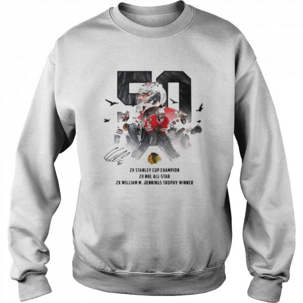 50 Corey Crawford Chicago Blackhawks 2x Stanley Cup Champion 2x NHL all-star 2x William M Jennings trophy winner  Unisex Sweatshirt
