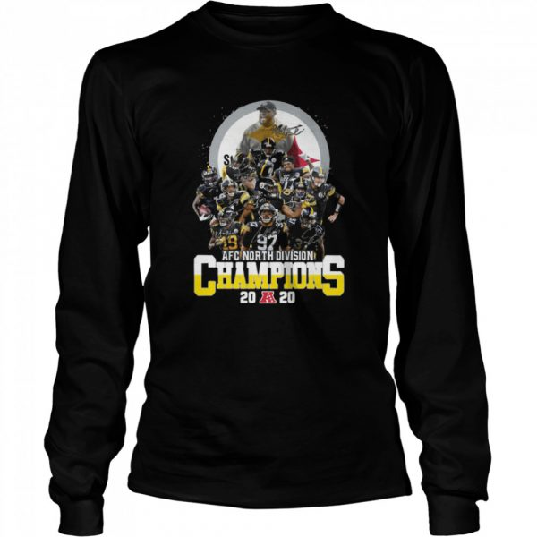 AFC North Division Champions Pittsburgh Steelers Signatures  Long Sleeved T-shirt