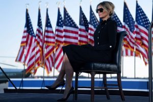 Melania Trump in her black outfit at Joint Base Andrews in Maryland.