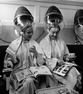 Under hair dryers at the Valentino & Rita of Knightsbridge in the 1950s